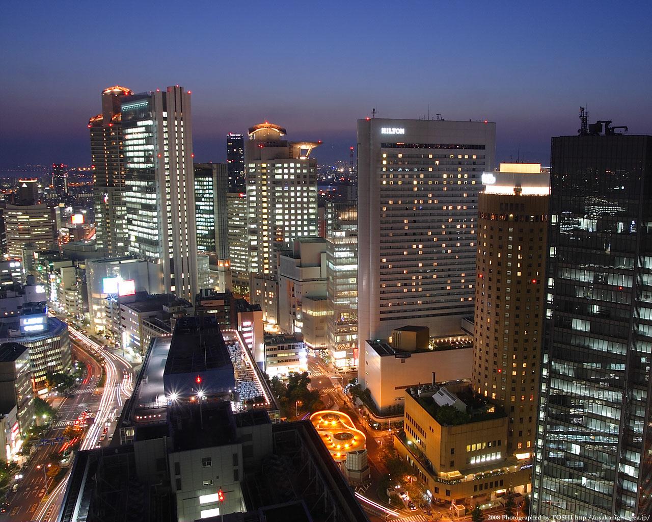 西梅田〜大阪駅方面の夕景