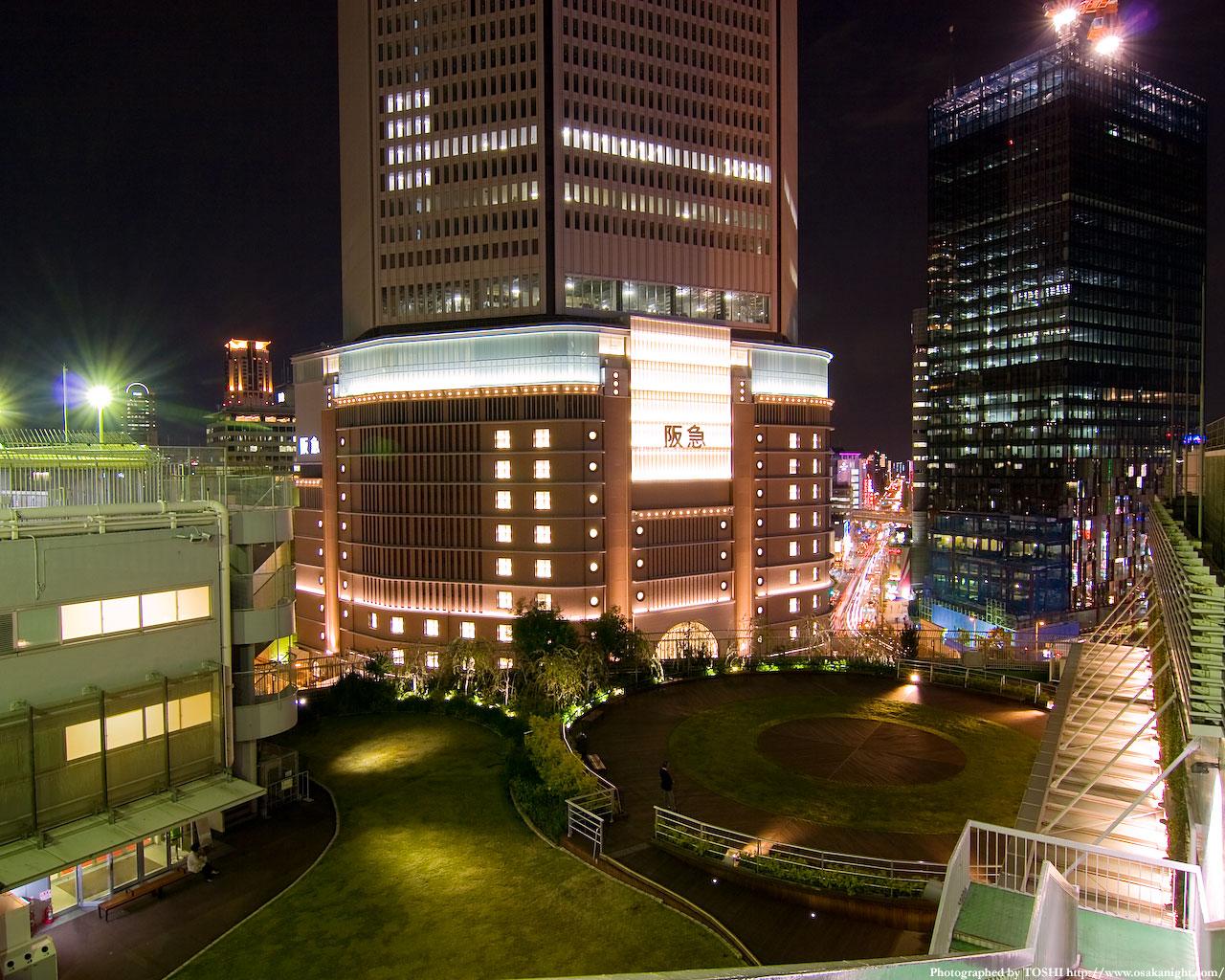 屋上庭園から阪急百貨店方面の夜景1
