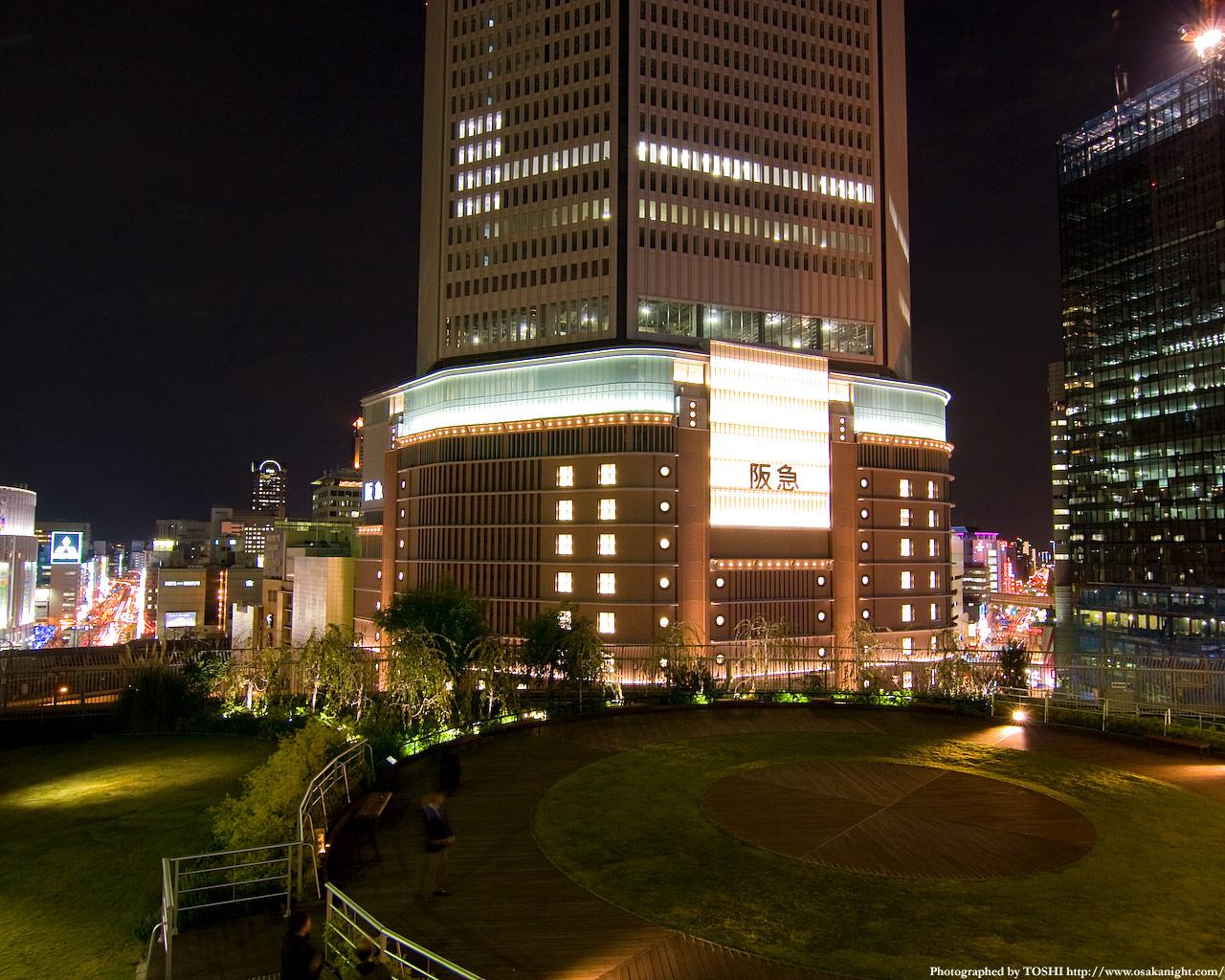 屋上庭園から阪急百貨店方面の夜景2