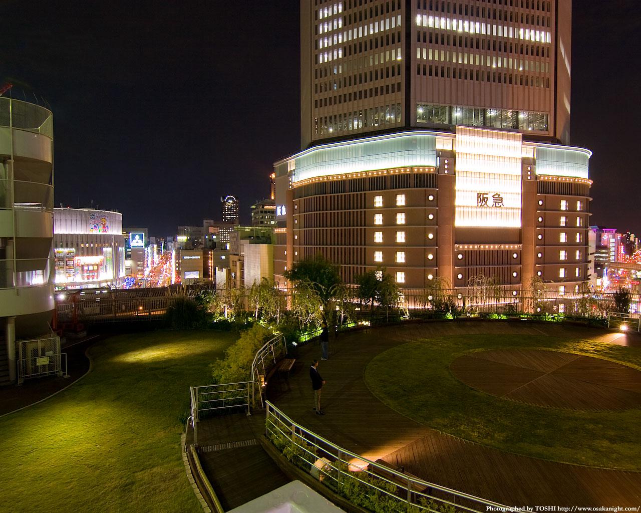 屋上庭園から阪急百貨店方面の夜景3