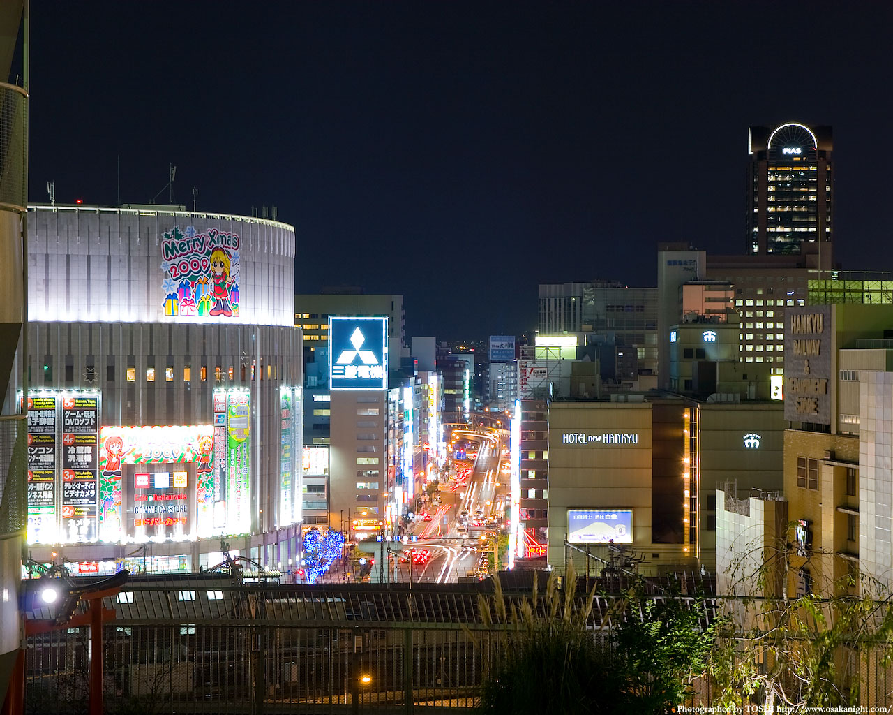 北方向ヨドバシカメラ方面の夜景