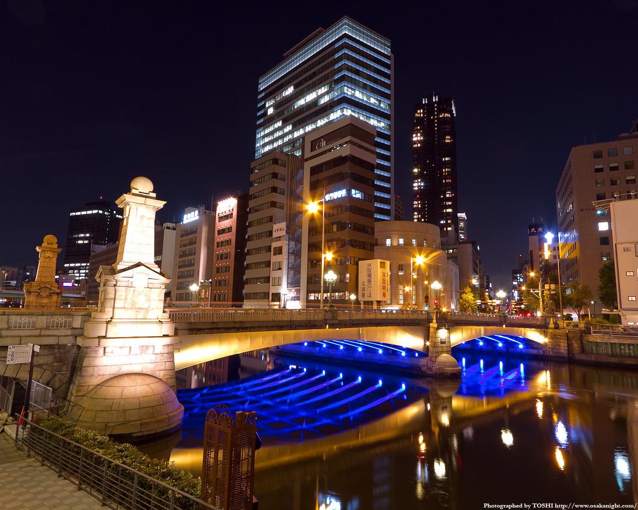 難波橋のライトアップ夜景5
