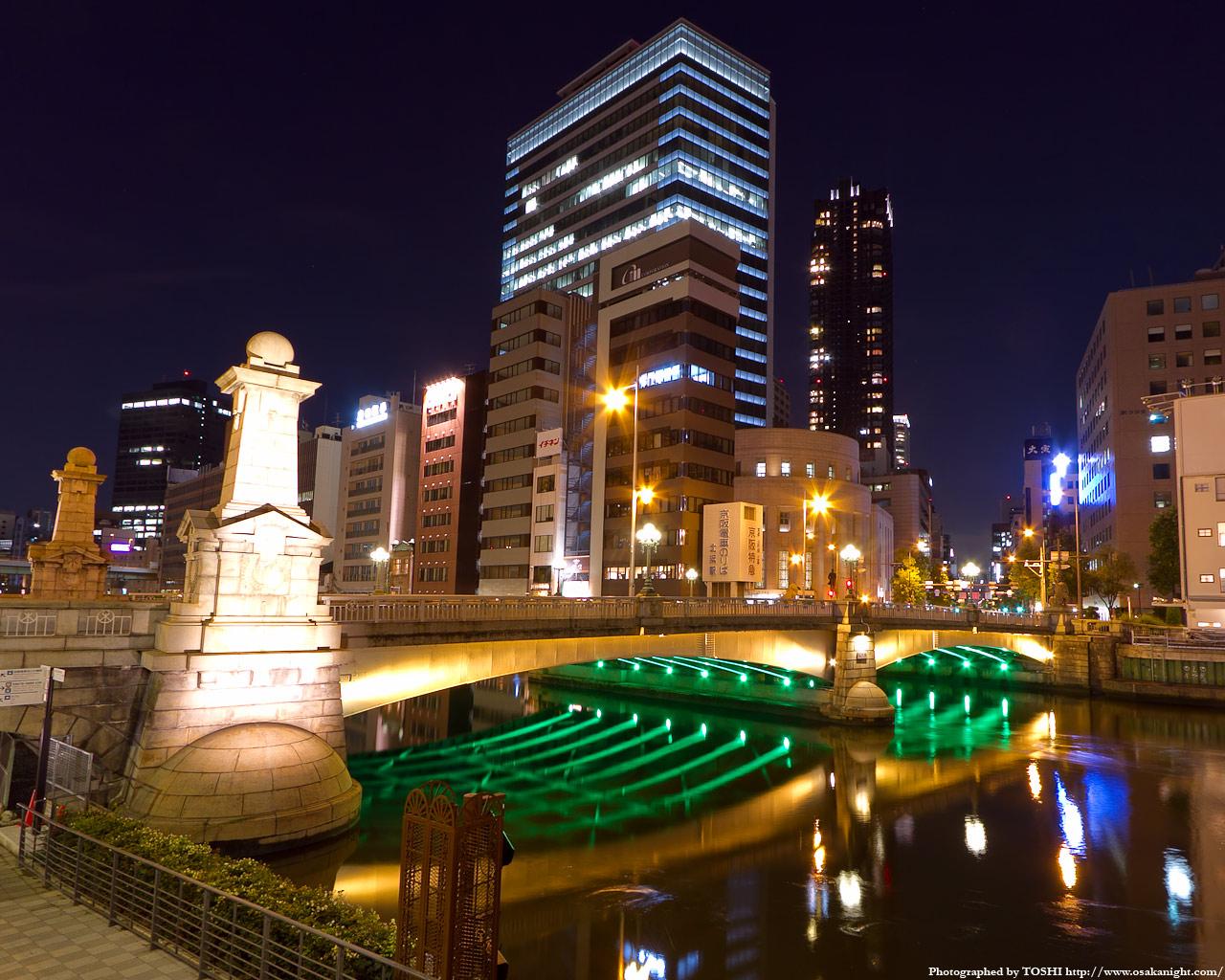 難波橋のライトアップ夜景6