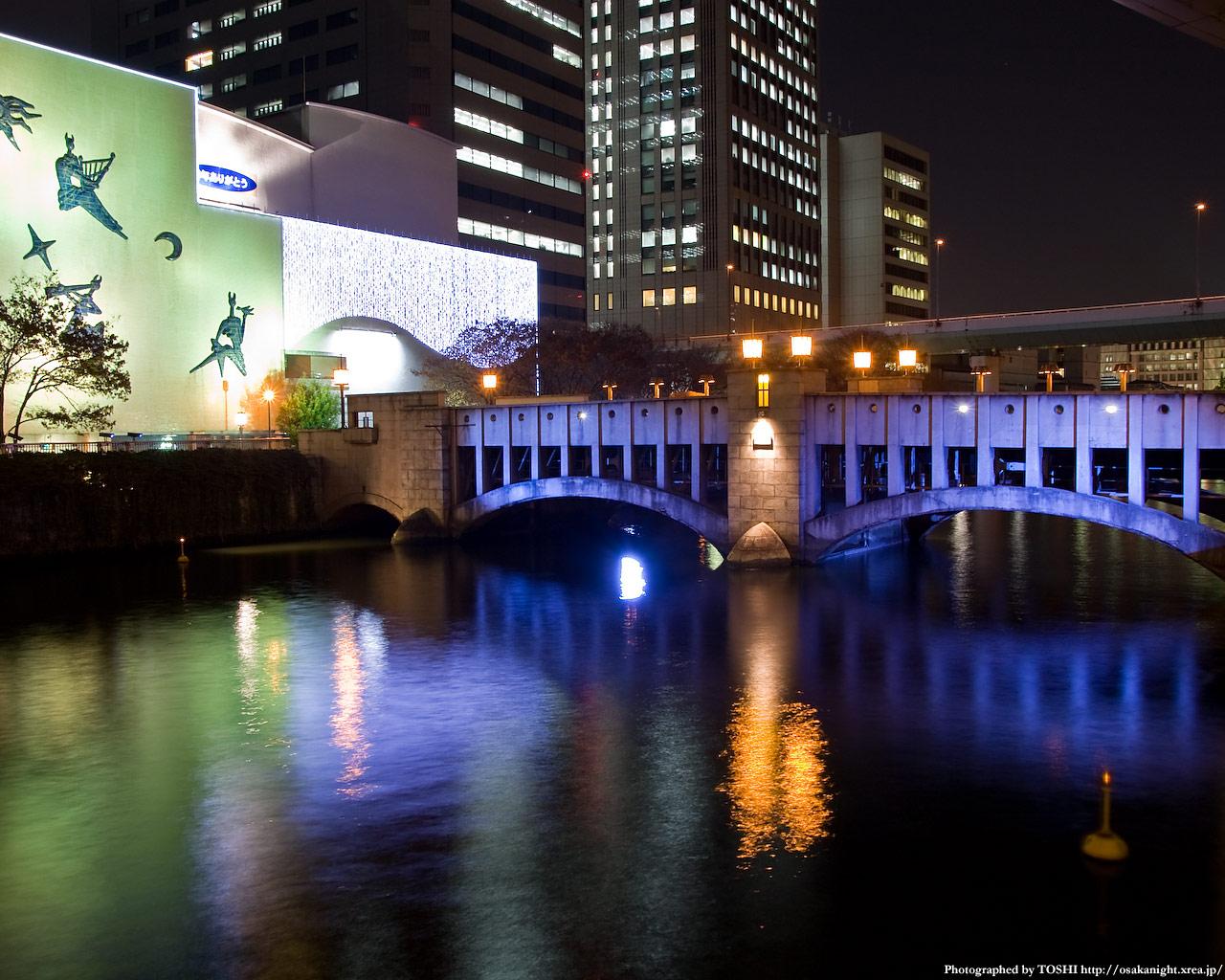 錦橋ライトアップとフェスティバルホール