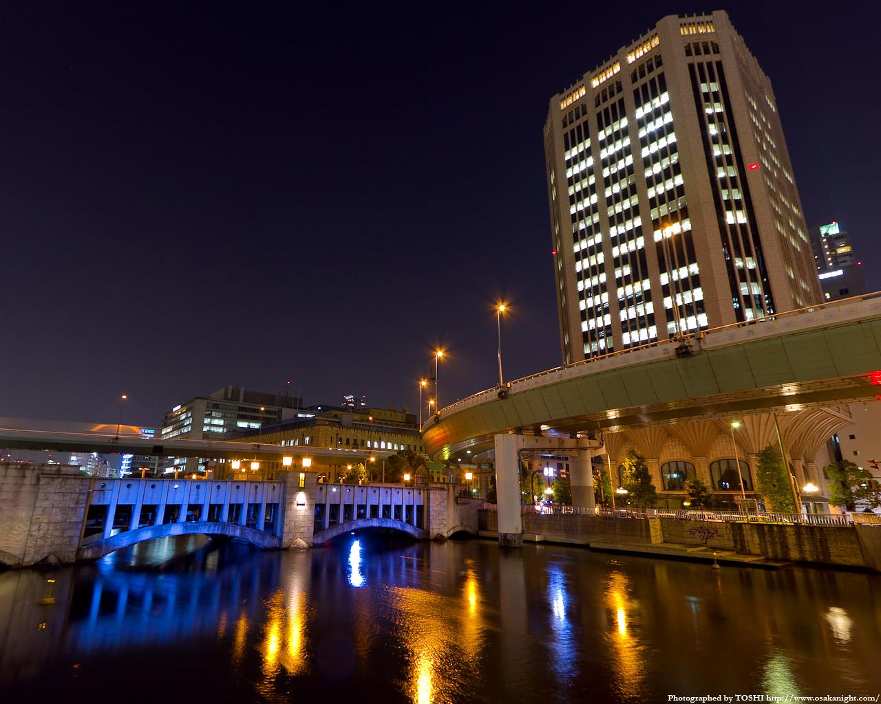 錦橋と大同生命肥後橋ビル夜景1