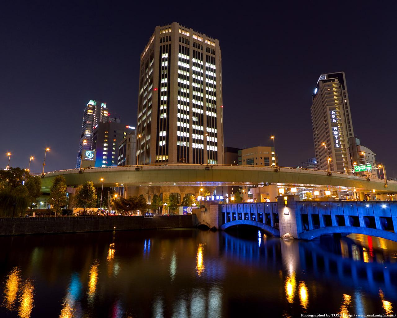 錦橋と大同生命肥後橋ビル夜景2