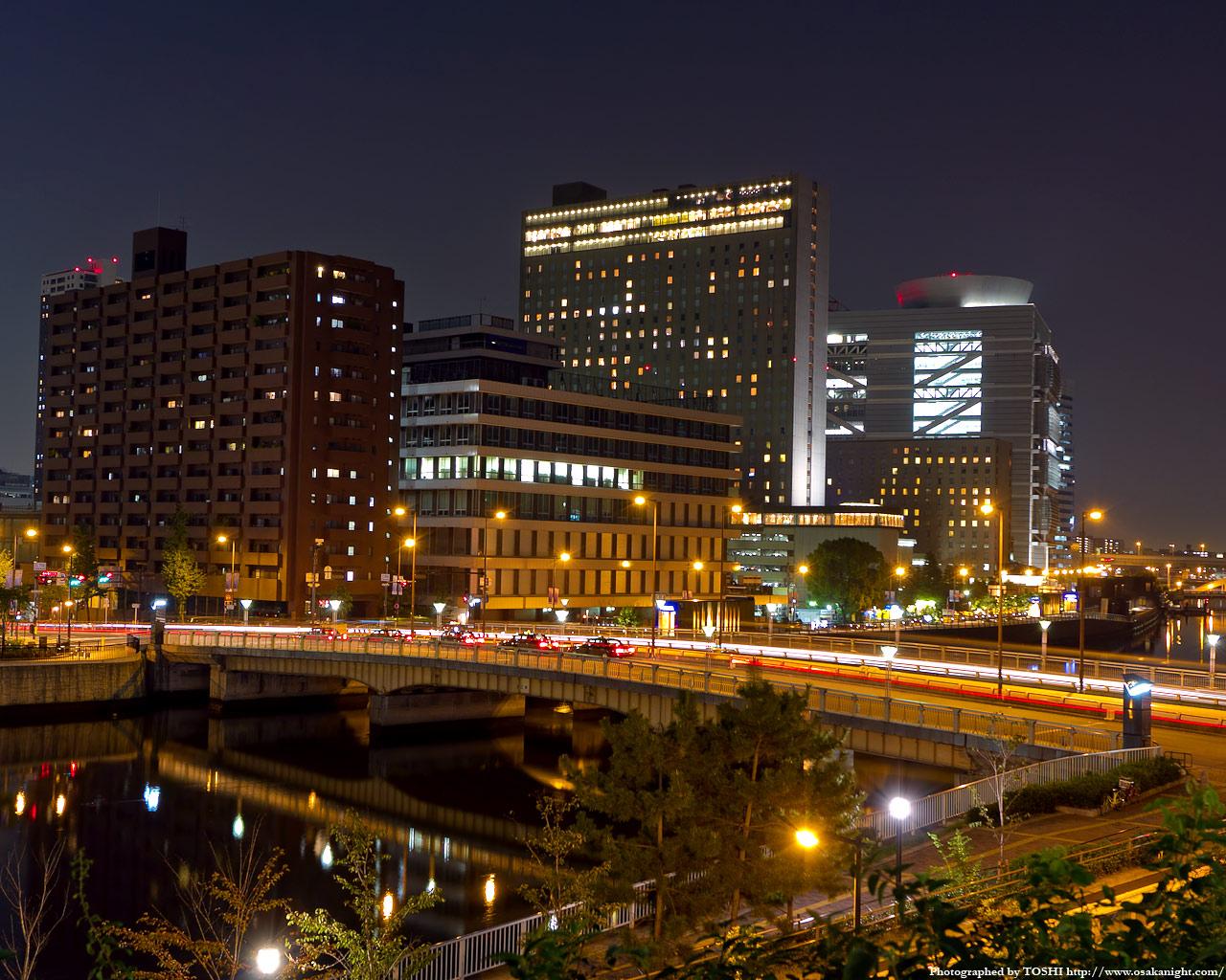 玉江橋と中之島5丁目方面の夜景