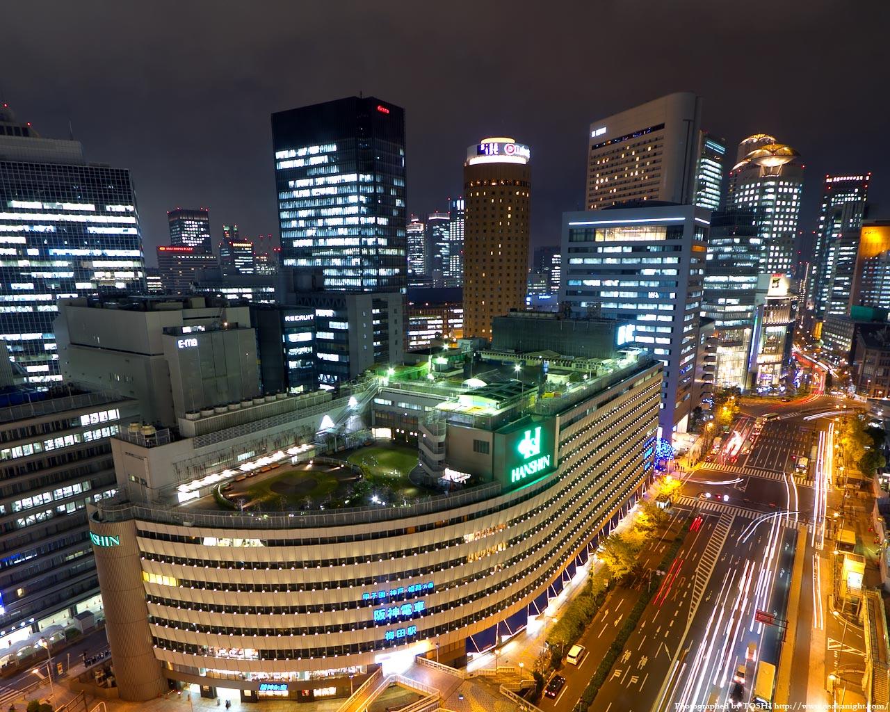 阪神百貨店〜大阪駅前ダイヤモンド地区の夜景