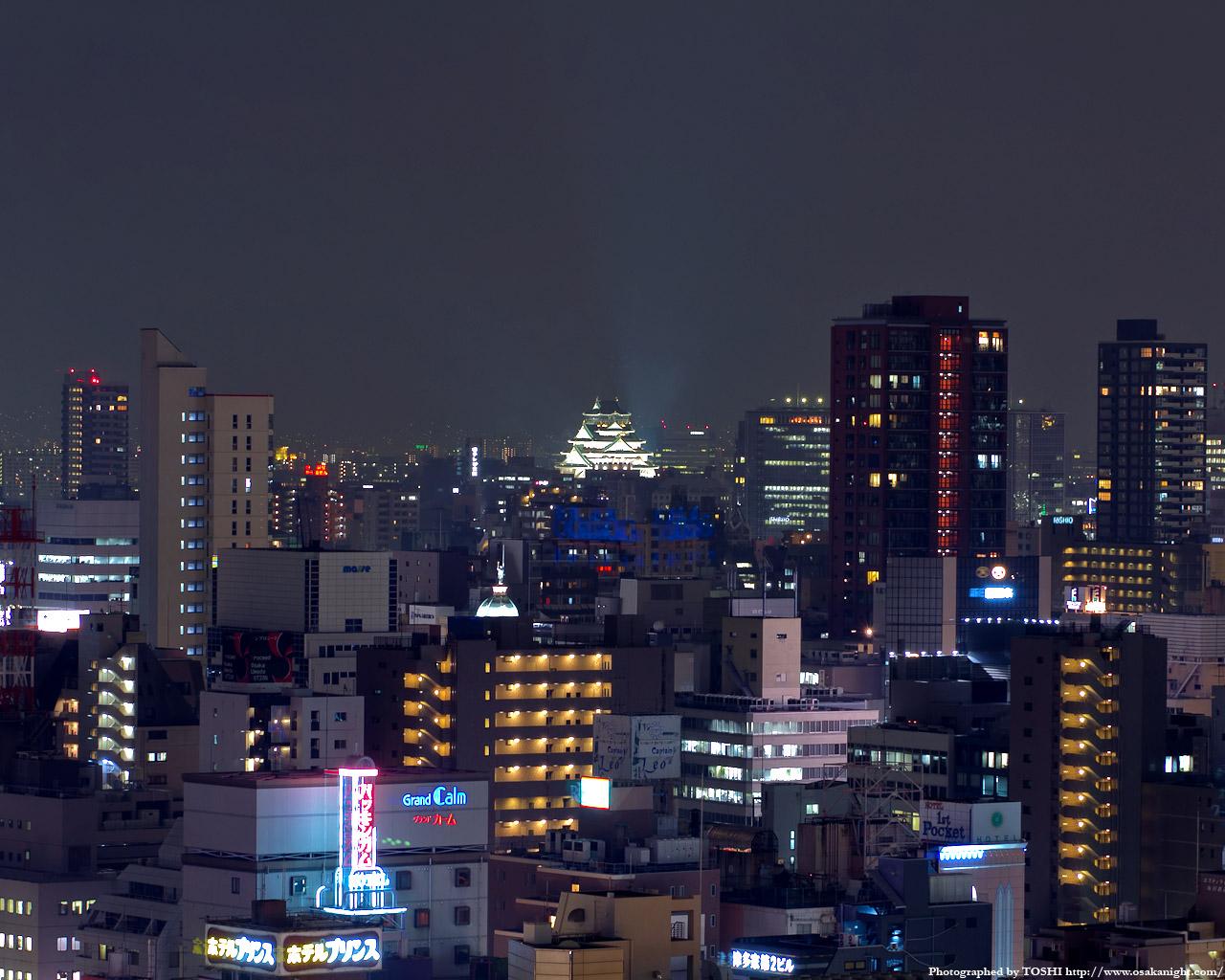 大阪城方面の夜景