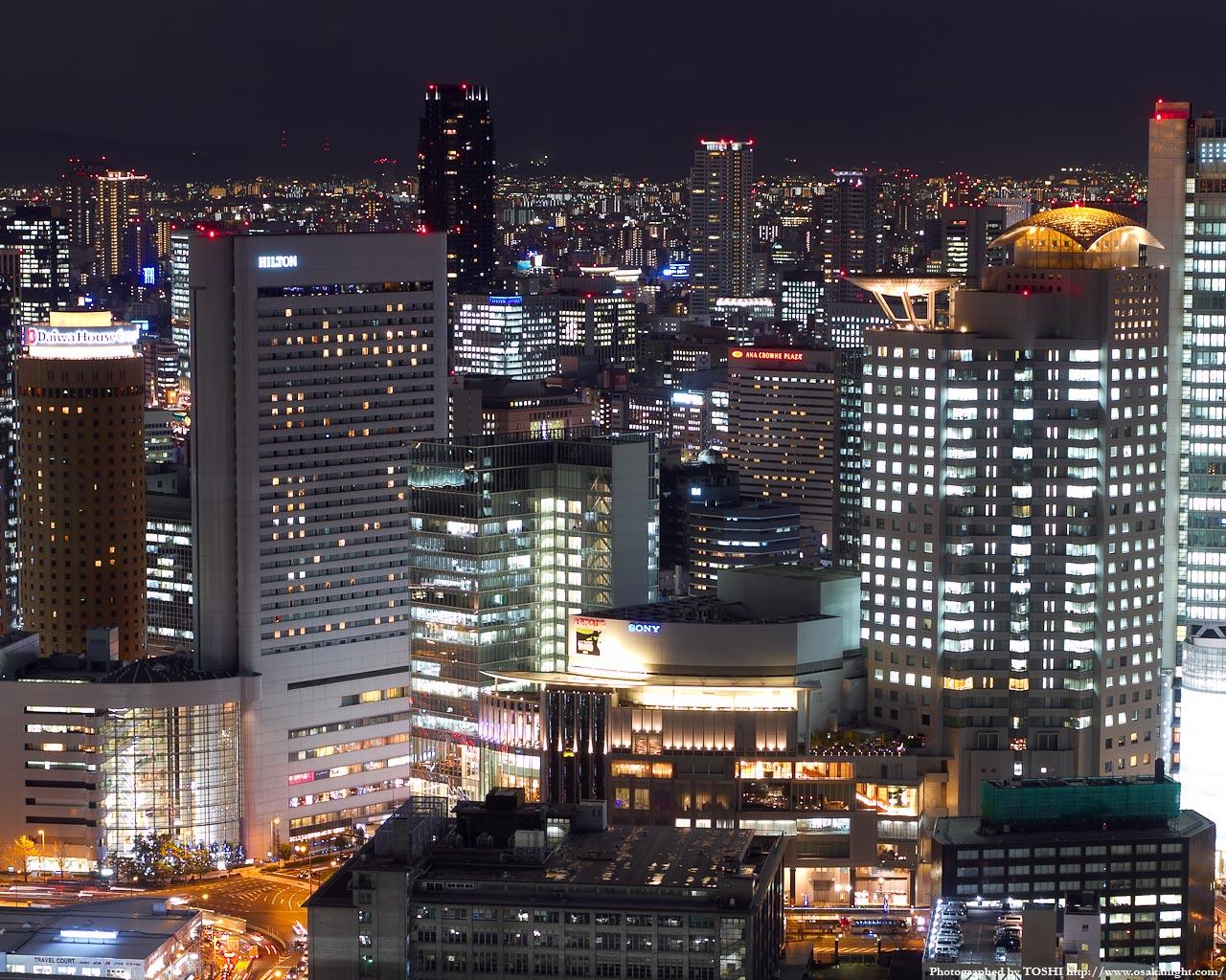 ヒルトン大阪〜ハービスエント周辺の夜景