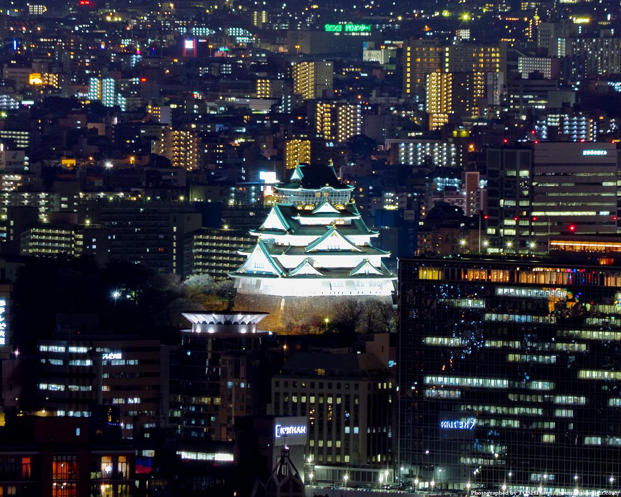 大阪城天守閣の夜景
