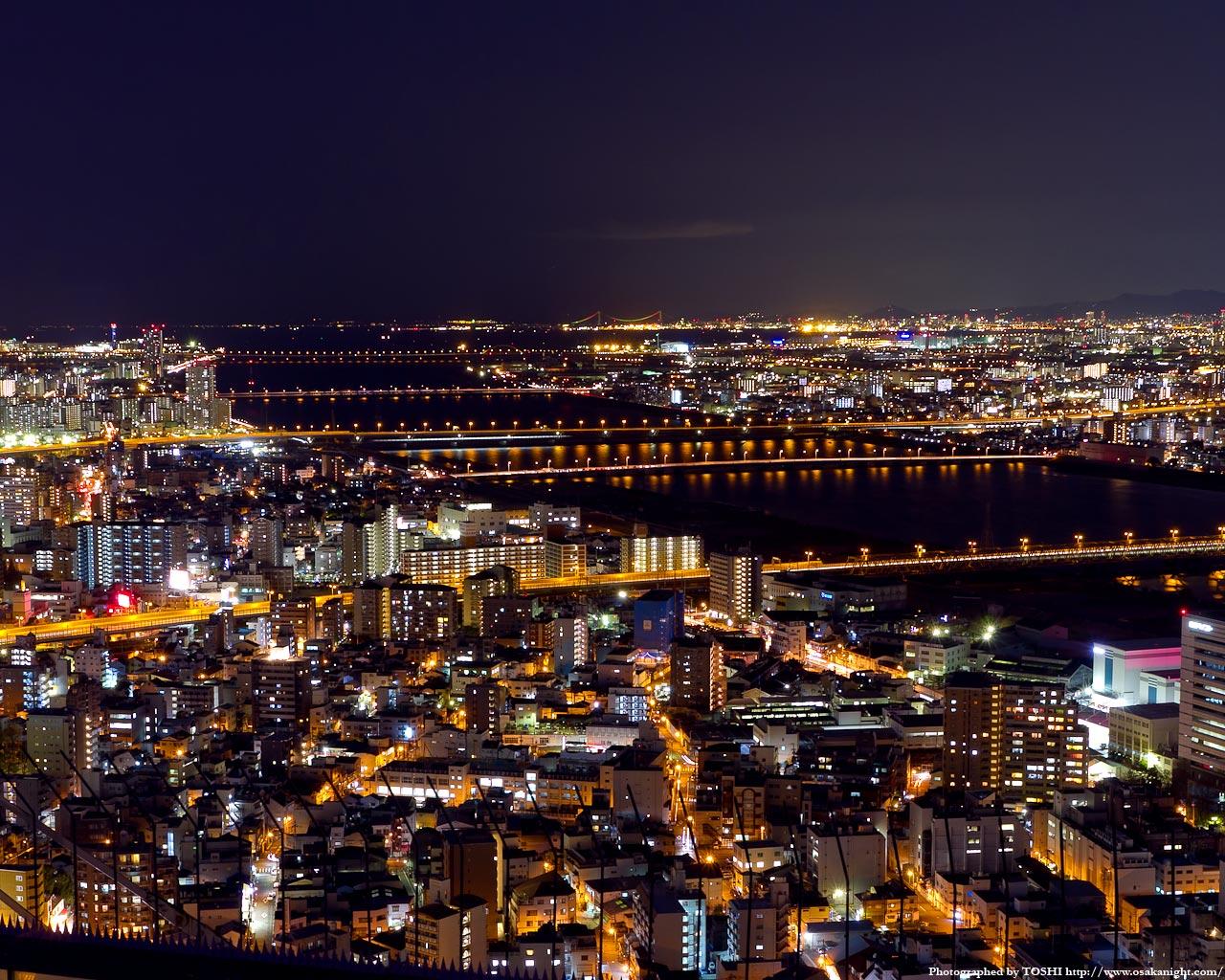 西方向大阪湾〜神戸方面の夜景