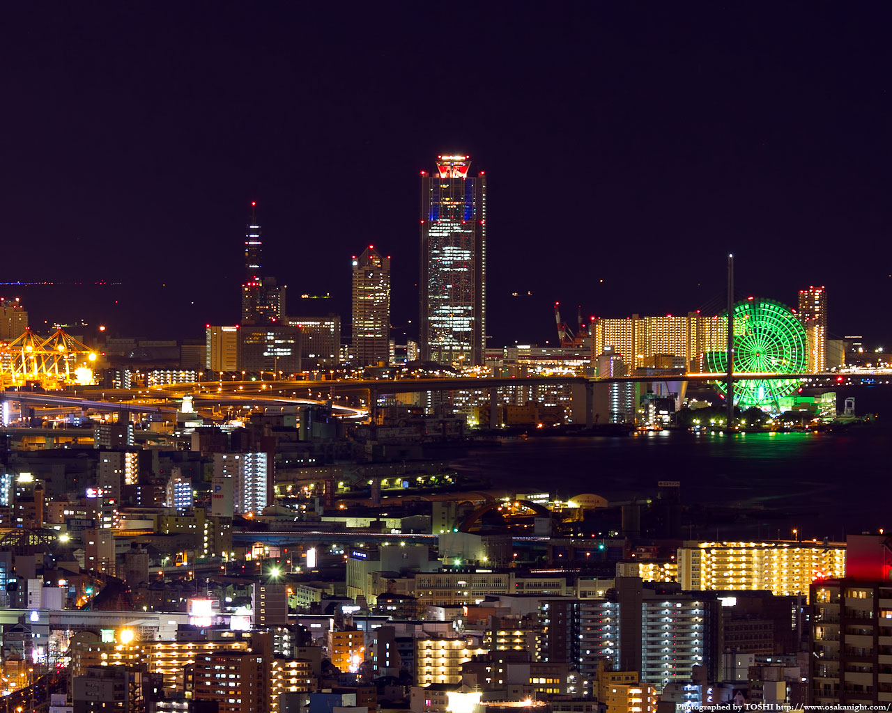 南港コスモスクエアと天保山大観覧車夜景