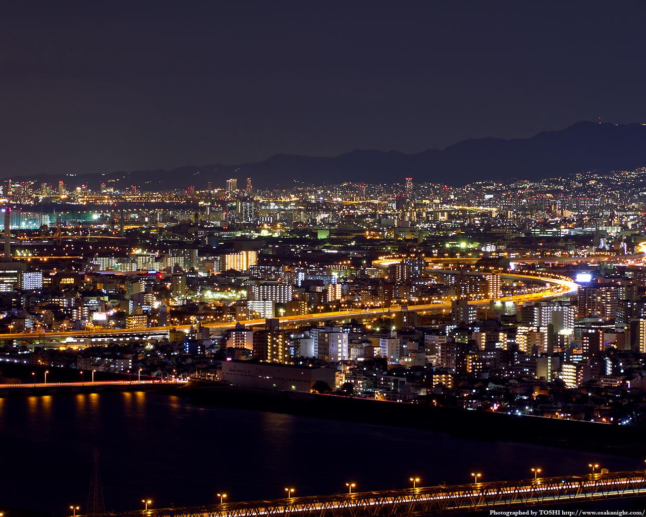 阪神間尼崎〜西宮方面の夜景