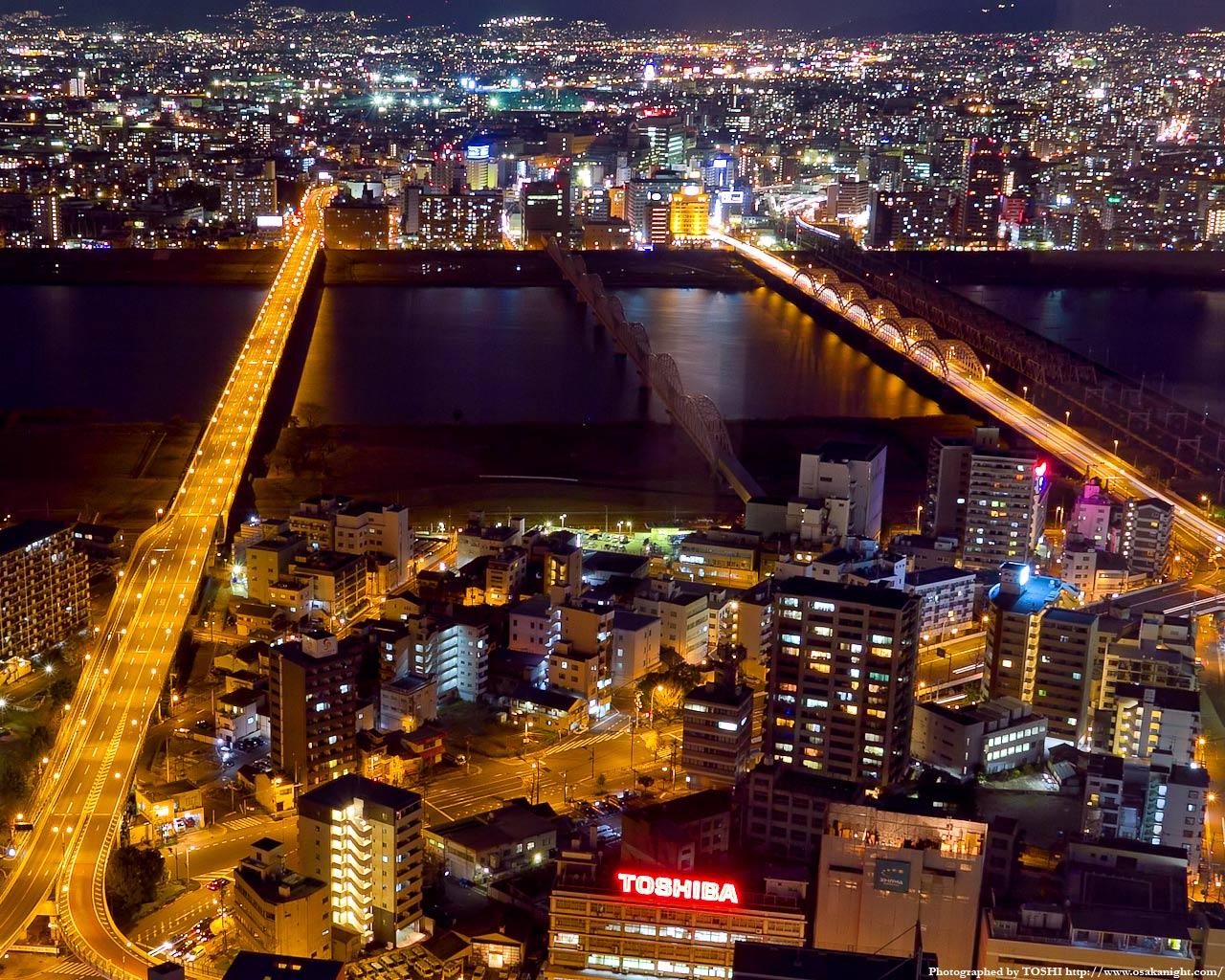 新十三大橋と十三大橋夜景