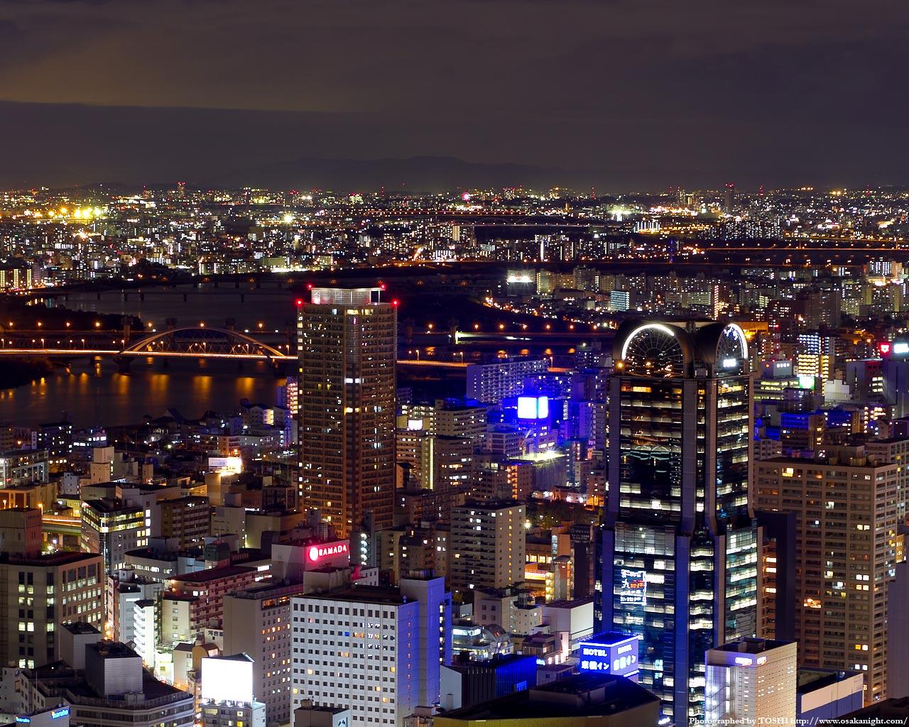 淀川水系摂津〜寝屋川方面の夜景