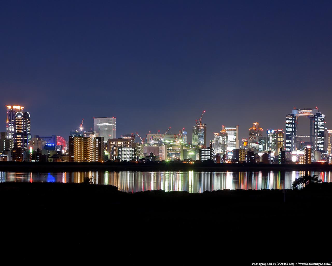 十三東付近より梅田方面の夜景2