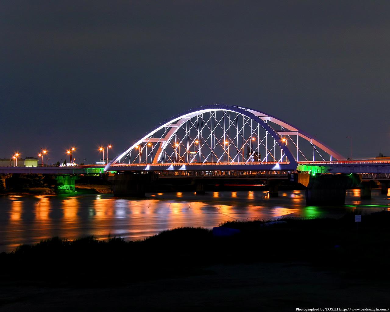 豊崎付近より長柄橋の夜景